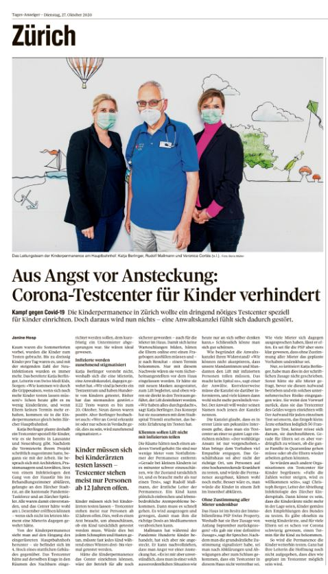 Artikel Tagesanzeiger Swiss Medi Kids